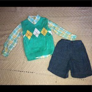 J khaki sweater vest, shirt and shorts